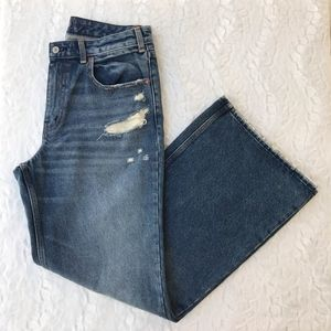 ABERCROMBIE AND FITCH HIGH RISE WIDE LEG JEANS